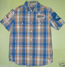 77Kids by AE Embroidered Patches Plaid Shirt Blue Orange 10 American Eagle