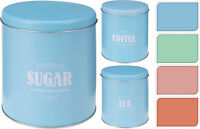 Set of 3 Tea Coffee & Sugar Storage Tins Tea Coffee Sugar Canisters Kitchen Jars