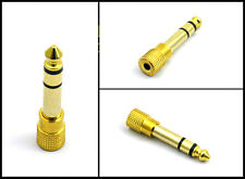 3.5mm Female Socket to 6.35mm Male Jack Plug Headphone Adapter stereo audio gold