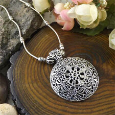 1X Retro Women Carved Tibet Silver Choker Chunky Round Pendant Ethnic Necklace