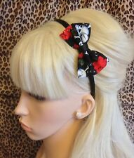 "BLACK RED ROSE SKULL PRINT FABRIC SMALL 3"" SIDE BOW SATIN ALICE HAIR HEAD BAND"