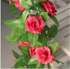 Rose Flowers Garland Plants Fake Foliage Vine Artificial Ivy Leaf Home Decor