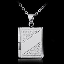 Luxury New Silver Book Box Photo Locket Pendant Necklace Xmas Gift