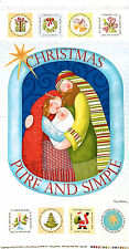 CHRISTMAS PURE & SIMPLE COTTON FABRIC CRAFT QUILTING PANEL BY NANCY HALVORSEN