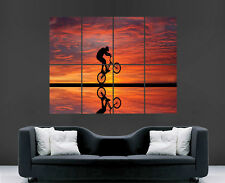BMX POSTER CYCLE BICYCLE SUNSET SILHOUETTE PRINT PICTURE GIANT HUGE
