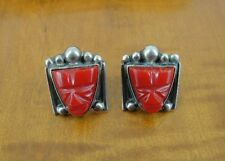 Vintage Red Face Mask Stones Sterling Silver 925 Pierced EARRINGS