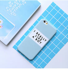 Fashion Art Unique Letter Couple Matte Hard PC Case Cover For iPhone 6S Blue
