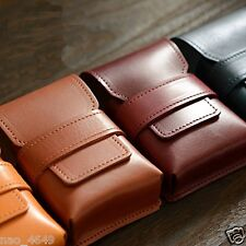 F/S Tobacco Cigarette Case Storage Box Pouch Cowhide Genuine Leather from Japan