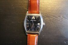Brooks Brothers Seiko Rectangular Automatic Watch, Dark Blue dial, brown leather