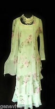 CATTIVA Size 12 Green Pink Floral Ladies Designer Wedding Dress & Jacket Outfit