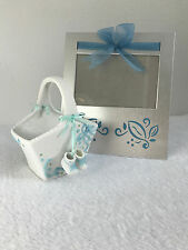 METAL PICTURE FRAME AND PORCELAIN BASKET BABY BOY NURSERY DECOR LOT - VGUC