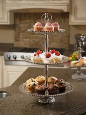 Classic Silver 3 Tier Stand Vintage Style Cupcake Dessert Cake Buffet Tray,19.5