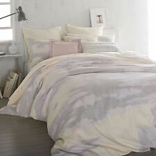DKNY MIRAGE BUTTER 1 QUEEN DUVET COVER GREY YELLOW ABSTRACT WATERCOLORS PASTEL