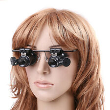 20X Magnifier LED Double Eyes Jeweler Watch Repair Magnify Glasses Loupe Outdoor