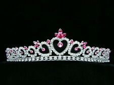 Bridal Pink Rhinestones Crystal Heart Prom Wedding Crown Tiara 6347