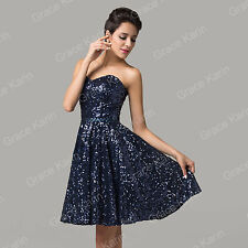 BLING SEQUINS Sexy Short Formal Evening Gown Party Wedding Bridesmaid Prom Dress