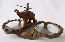 Antique Art Deco Metal Painted Double Ashtray w/Man Riding Elephant, Nuart Style