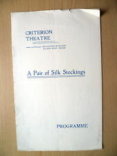CRITERION THEATRE PROGRAMME 1914- A PAIR OF SILK STOCKINGS by G K Chesterton