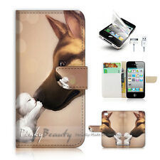 iPhone 4 4S Flip Wallet Case Cover! P1083 Dog and Pussy