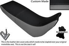BLACK AND GREY CUSTOM FITS YAMAHA XT 600 E 96-04 DUAL LEATHER SEAT COVER