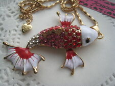 BETSEY JOHNSON CRYSTAL AND ENAMEL RED AND WHITE KOI FISH NECKLACE  26'  # 70