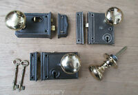 OLD VINTAGE STYLE CAST IRON PERIOD HOME COUNTRY RIM DOOR LOCK KNOB HANDLE