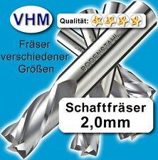 Schaftfräser 2mm f. Kunststoff Holz Vollhartmetall scharf geschliffen 38mm Z=2