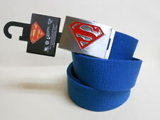 NWT Mens DC Comics SUPERMAN Blue Canvas Silver Buckle adjustable BELT - one size