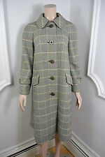 VINTAGE 1960's GREEN CHECK RODEX OF LONDON WOMAN'S WOOL OVERCOAT COAT SIZE 16