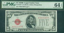$5.00 Legal Tender STAR NOTE, 1928B, Fr. #1527*, PMG Grade 64EPQ, Choice UNC
