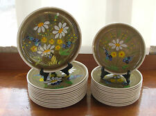 Vintage Mancioli Italy Hand Painted Daisy Floral Dinner Luncheon Plates~Ol Brown
