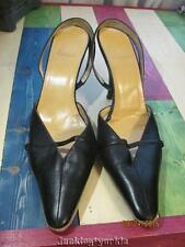 Bally black leather kitty heels sling back womans size 9 1/2 US
