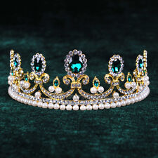 Hunter Green Pearl Tiara Bridal Crowns Wedding Crystal Rhinestone Pageant Crown
