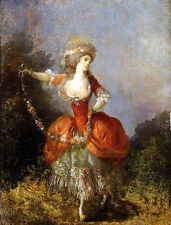 Large Oil painting Schall Jean Frederic Lady Dancing With A Garland Hand painted