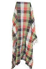 UNIQUE LADIES GREEN/RED/BLACK/WHITE PLAID THEME WINTER SCARF SILVER LINED(MS9)