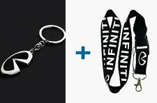 INFINITI Silver Metal Key Chain & 22 inch Lanyard ID Badge Holder 2 in 1 Package