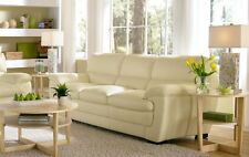 "92"" L Sofa Italian Leather white top grain high quality wood frame hand made"