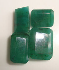 37.60 Ct  Natural Zambian Emerald 4,pcs. Lot  Emerald Cut Shape Gemstone