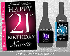 Personalised Wine Champagne Bottle Label Birthday Gift 20 30 40th 50th 60th 21st