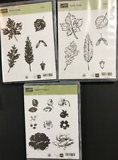 Stampin Up STIPPLE BLOSSOMS & GENTLY FALLING Leaves~2 TWO Step Rubber Stamp Sets