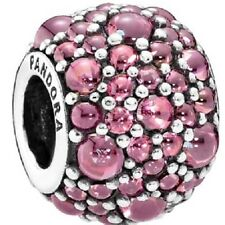 Authentic Silver Pandora Honeysuckle Pink Shimmering Droplets Charm 791755HCZ