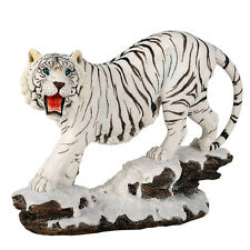 Tiger White Figurine Statue Wild Cat Animal Cub Large Figure Collectible Decor