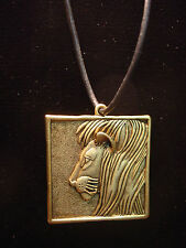 """JJ"" Jonette Jewelry Antique Gold Pewter 'Square LION' 24"" Necklace"