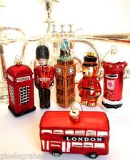 GISELA GRAHAM Christmas glass London set of 6, Big Ben, Beefeater, Guard Bus etc