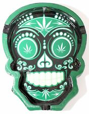 ASHTRAY Candy Skull Leaf Weed Design Ash Tray in shape skull green or red colour