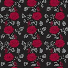 Red Black Chrysanthemum Flower Look Contact Paper Wallcovering Vinyl Wallpaper