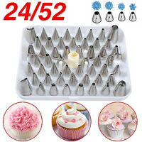 24 52 Icing Piping Nozzles + 100 pcs Bags Tips Set Cake Decorating Sugarcraft -Z
