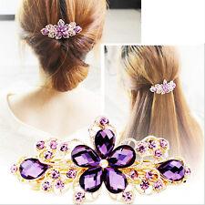 Chic Leaf Rhinestone Crystal Flower Barrette Tone Hair Clip Bridal Party Jewelry