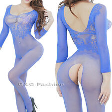 Blue Fishnet Sleeved Lace Lingerie Babydoll Teddy Body Cat Suit Stocking Leotard