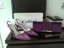 Cellini Magenta slingbacks with matching bag size 4